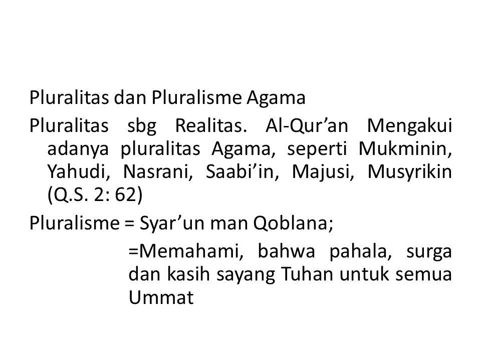 Pluralitas dan Pluralisme Agama Pluralitas sbg Realitas. Al-Qur'an Mengakui adanya pluralitas Agama, seperti Mukminin, Yahudi, Nasrani, Saabi'in, Maju
