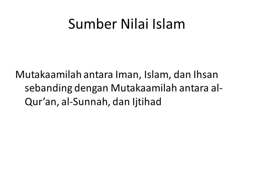 Sumber Nilai Islam Mutakaamilah antara Iman, Islam, dan Ihsan sebanding dengan Mutakaamilah antara al- Qur'an, al-Sunnah, dan Ijtihad