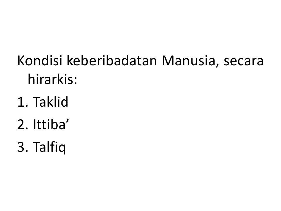 Kondisi keberibadatan Manusia, secara hirarkis: 1.Taklid 2.Ittiba' 3.Talfiq