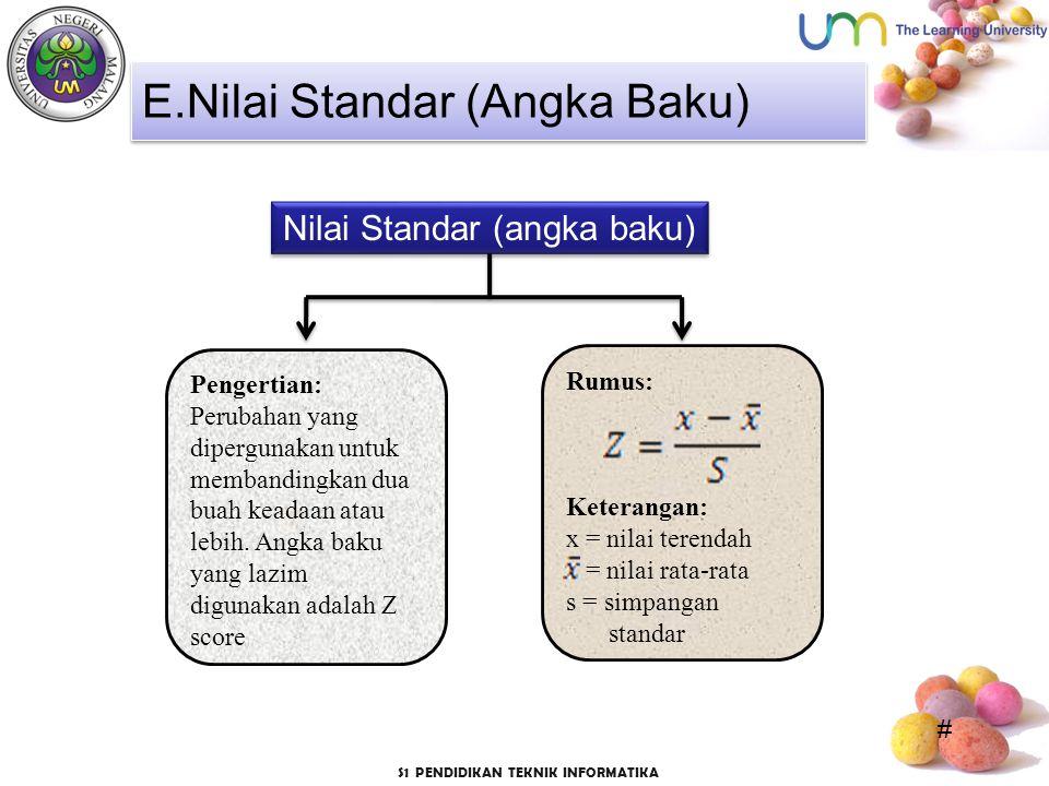 # S1 PENDIDIKAN TEKNIK INFORMATIKA Nilai Standar (angka baku) E.Nilai Standar (Angka Baku) Pengertian: Perubahan yang dipergunakan untuk membandingkan dua buah keadaan atau lebih.
