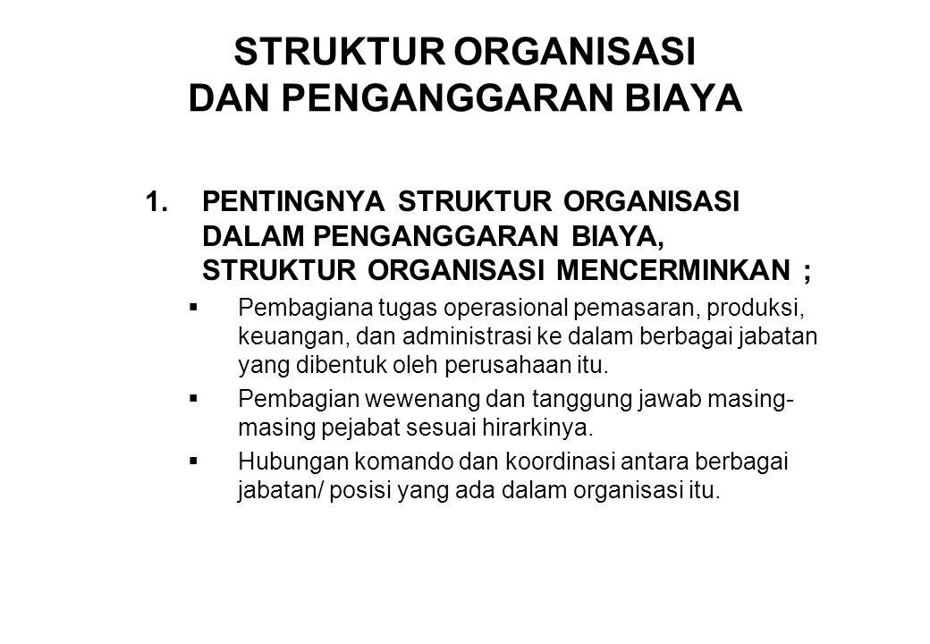 STRUKTUR ORGANISASI DAN PENGANGGARAN BIAYA 1.PENTINGNYA STRUKTUR ORGANISASI DALAM PENGANGGARAN BIAYA, STRUKTUR ORGANISASI MENCERMINKAN ;  Pembagiana
