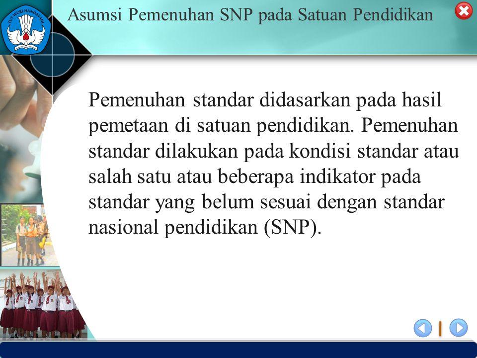 Asumsi Pemenuhan SNP pada Satuan Pendidikan Pemenuhan standar didasarkan pada hasil pemetaan di satuan pendidikan. Pemenuhan standar dilakukan pada ko