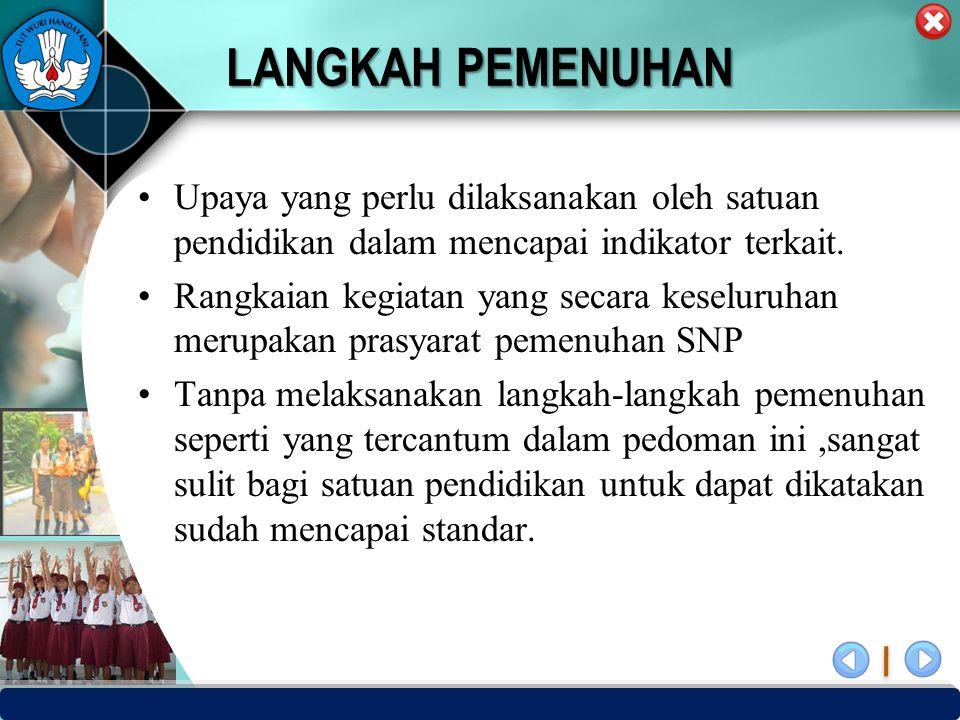 PUSAT PENJAMINAN MUTU PENDIDIKAN - BPSDMPK & PMP – KEMENDIKBUD -2012 LANGKAH PEMENUHAN Upaya yang perlu dilaksanakan oleh satuan pendidikan dalam menc