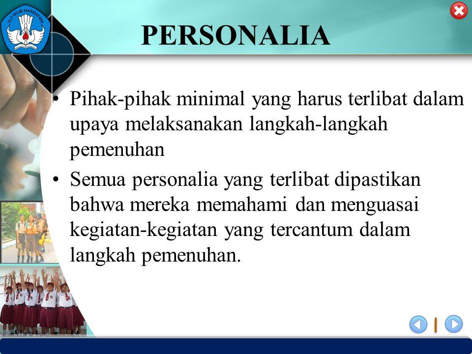 PUSAT PENJAMINAN MUTU PENDIDIKAN - BPSDMPK & PMP – KEMENDIKBUD -2012 PERSONALIA Pihak-pihak minimal yang harus terlibat dalam upaya melaksanakan langk
