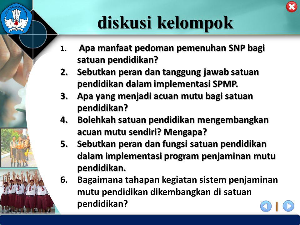 PUSAT PENJAMINAN MUTU PENDIDIKAN - BPSDMPK & PMP – KEMENDIKBUD -2012 diskusi kelompok Apa manfaat pedoman pemenuhan SNP bagi satuan pendidikan? 1. Apa