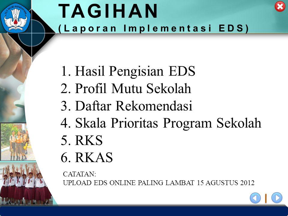 PUSAT PENJAMINAN MUTU PENDIDIKAN - BPSDMPK & PMP – KEMENDIKBUD -2012 TAGIHAN (Laporan Implementasi EDS) 1.