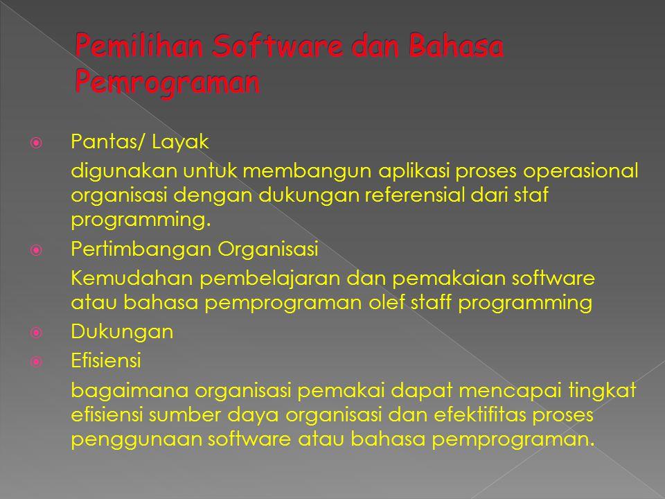  Pantas/ Layak digunakan untuk membangun aplikasi proses operasional organisasi dengan dukungan referensial dari staf programming.  Pertimbangan Org