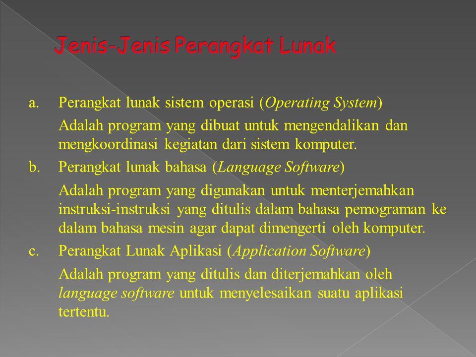 a.Perangkat lunak sistem operasi (Operating System) Adalah program yang dibuat untuk mengendalikan dan mengkoordinasi kegiatan dari sistem komputer. b