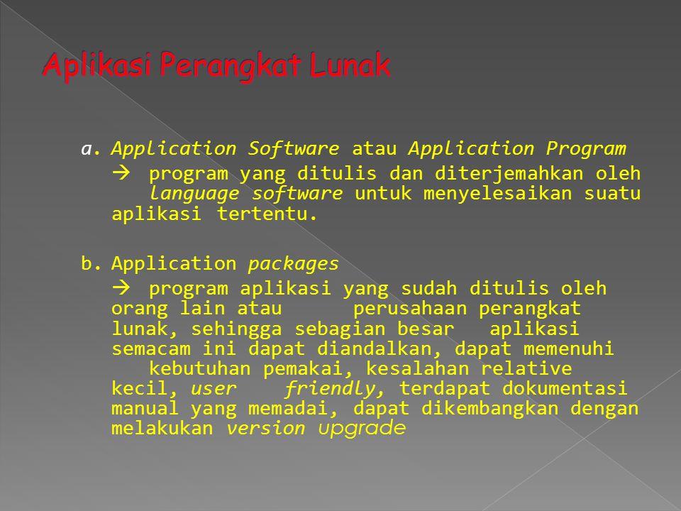 a.Application Software atau Application Program  program yang ditulis dan diterjemahkan oleh language software untuk menyelesaikan suatu aplikasi ter
