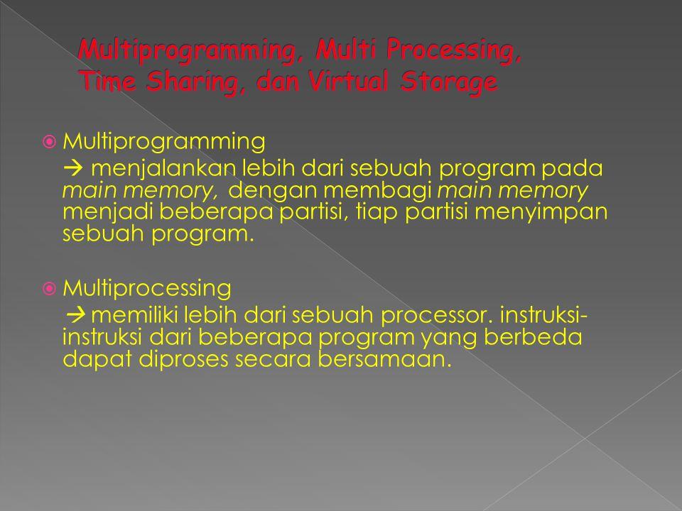  Multiprogramming  menjalankan lebih dari sebuah program pada main memory, dengan membagi main memory menjadi beberapa partisi, tiap partisi menyimp