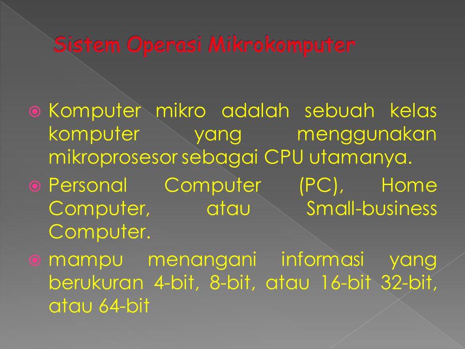  Komputer mikro adalah sebuah kelas komputer yang menggunakan mikroprosesor sebagai CPU utamanya.  Personal Computer (PC), Home Computer, atau Small