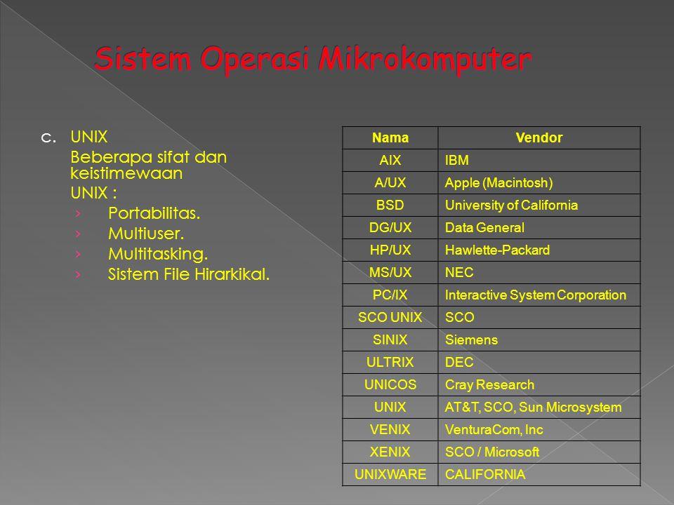 c.UNIX Beberapa sifat dan keistimewaan UNIX : › Portabilitas. › Multiuser. › Multitasking. › Sistem File Hirarkikal. NamaVendor AIXIBM A/UXApple (Maci