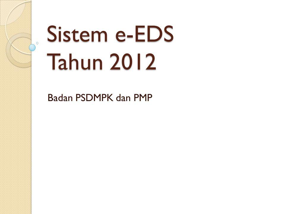 Halaman Utama Halaman utama memuat:  Statistik upload file e-EDS  Fasilitas Login  Pencarian sekolah  Download materi  Help desk melalui kirim email
