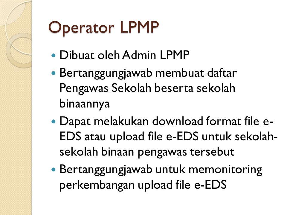 Operator LPMP Dibuat oleh Admin LPMP Bertanggungjawab membuat daftar Pengawas Sekolah beserta sekolah binaannya Dapat melakukan download format file e