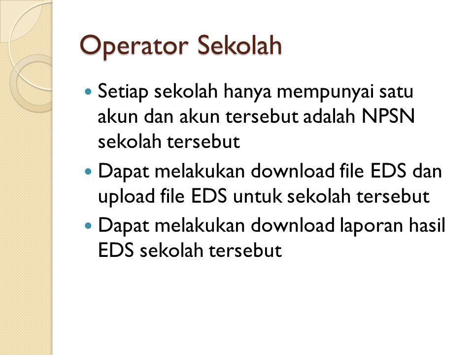 Operator Sekolah Setiap sekolah hanya mempunyai satu akun dan akun tersebut adalah NPSN sekolah tersebut Dapat melakukan download file EDS dan upload