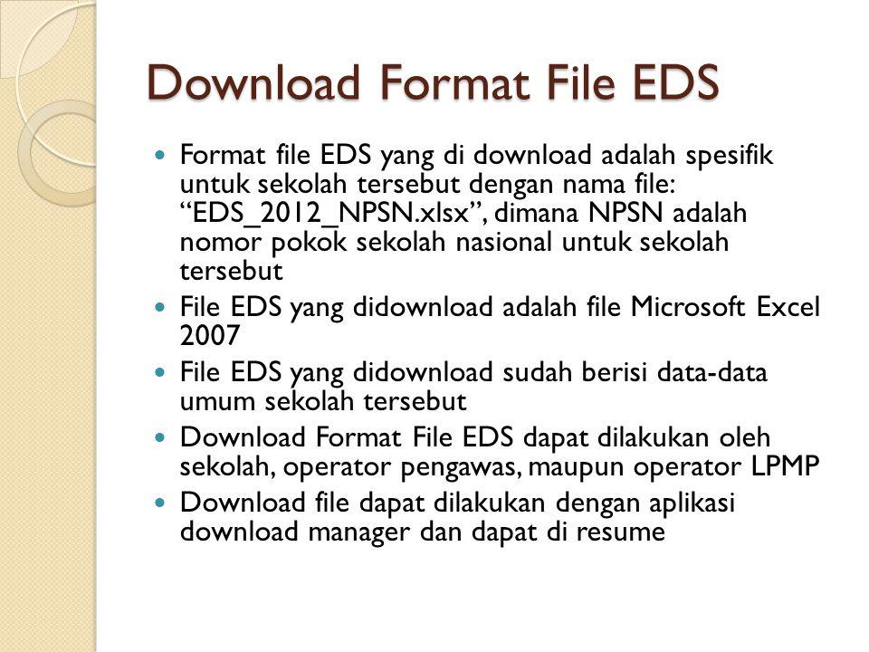"""Download Format File EDS Format file EDS yang di download adalah spesifik untuk sekolah tersebut dengan nama file: """"EDS_2012_NPSN.xlsx"""", dimana NPSN a"""