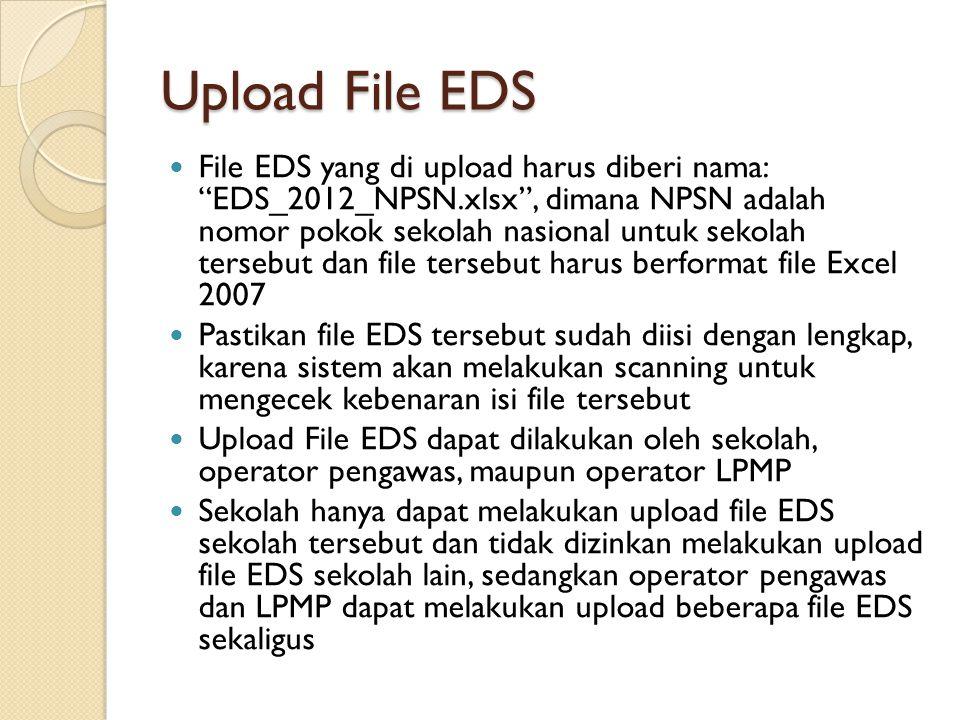 """Upload File EDS File EDS yang di upload harus diberi nama: """"EDS_2012_NPSN.xlsx"""", dimana NPSN adalah nomor pokok sekolah nasional untuk sekolah tersebu"""