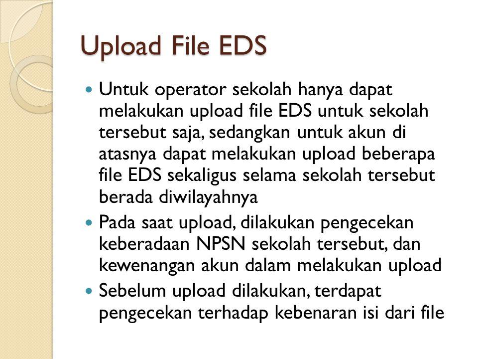 Untuk operator sekolah hanya dapat melakukan upload file EDS untuk sekolah tersebut saja, sedangkan untuk akun di atasnya dapat melakukan upload beber
