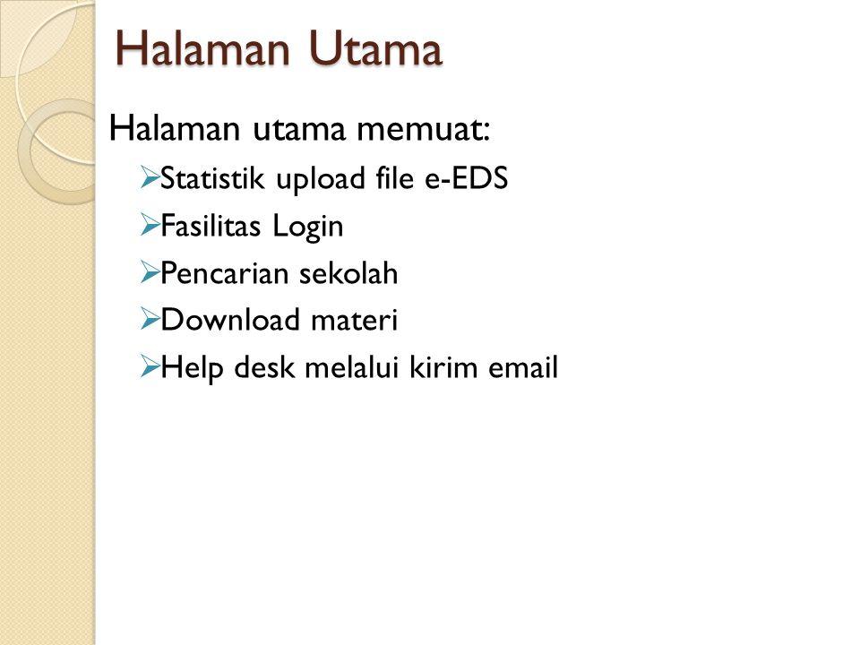 Halaman Utama Halaman utama memuat:  Statistik upload file e-EDS  Fasilitas Login  Pencarian sekolah  Download materi  Help desk melalui kirim em