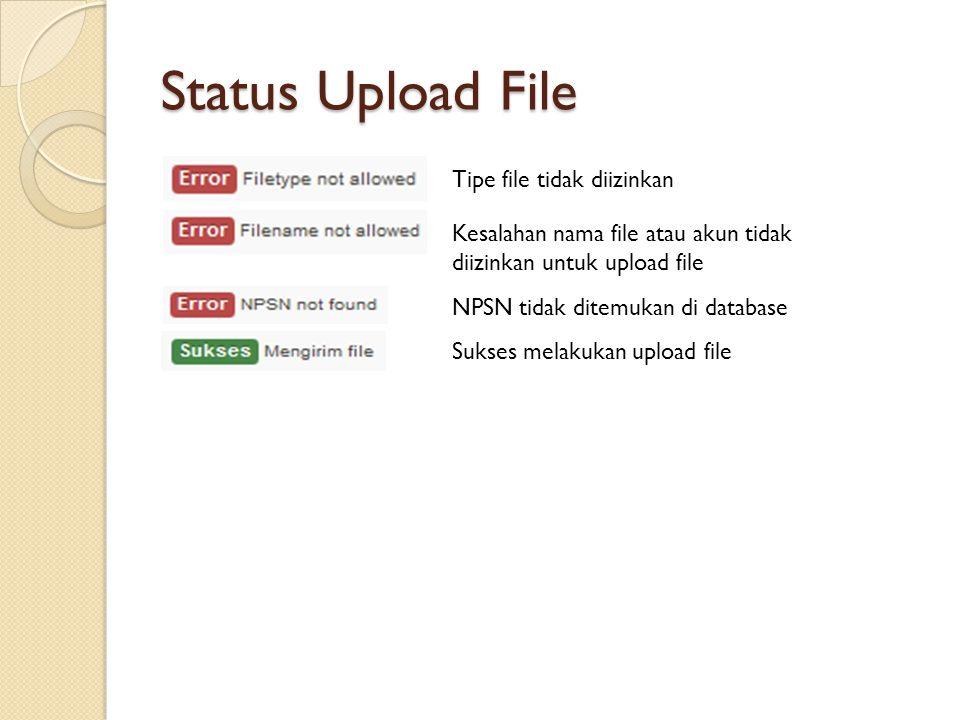Status Upload File Tipe file tidak diizinkan Kesalahan nama file atau akun tidak diizinkan untuk upload file NPSN tidak ditemukan di database Sukses m