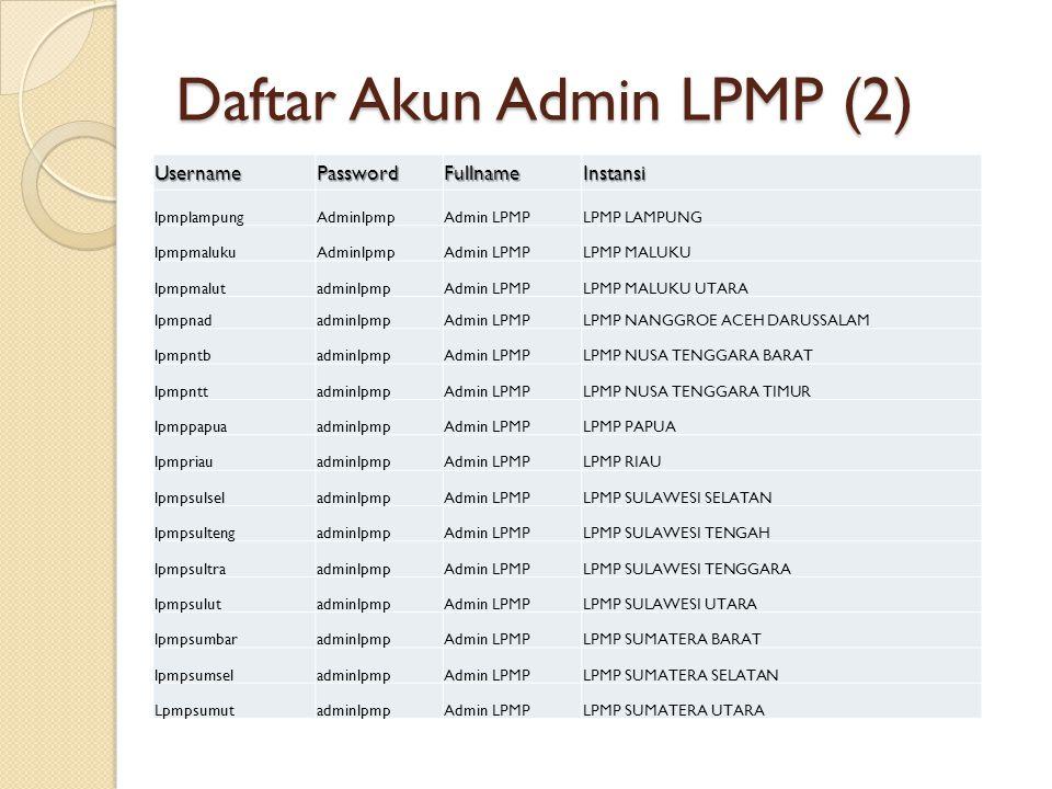 Daftar Akun Admin LPMP (2) UsernamePasswordFullnameInstansi lpmplampungAdminlpmpAdmin LPMPLPMP LAMPUNG lpmpmalukuAdminlpmpAdmin LPMPLPMP MALUKU lpmpma
