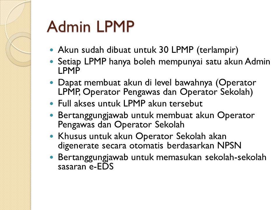 Operator LPMP Dibuat oleh Admin LPMP Bertanggungjawab membuat daftar Pengawas Sekolah beserta sekolah binaannya Dapat melakukan download format file e- EDS atau upload file e-EDS untuk sekolah- sekolah binaan pengawas tersebut Bertanggungjawab untuk memonitoring perkembangan upload file e-EDS
