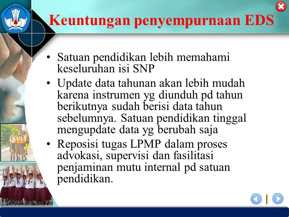 PUSAT PENJAMINAN MUTU PENDIDIKAN - BPSDMPK PPMP – KEMENDIKBUD -2012 Keuntungan penyempurnaan EDS Satuan pendidikan lebih memahami keseluruhan isi SNP