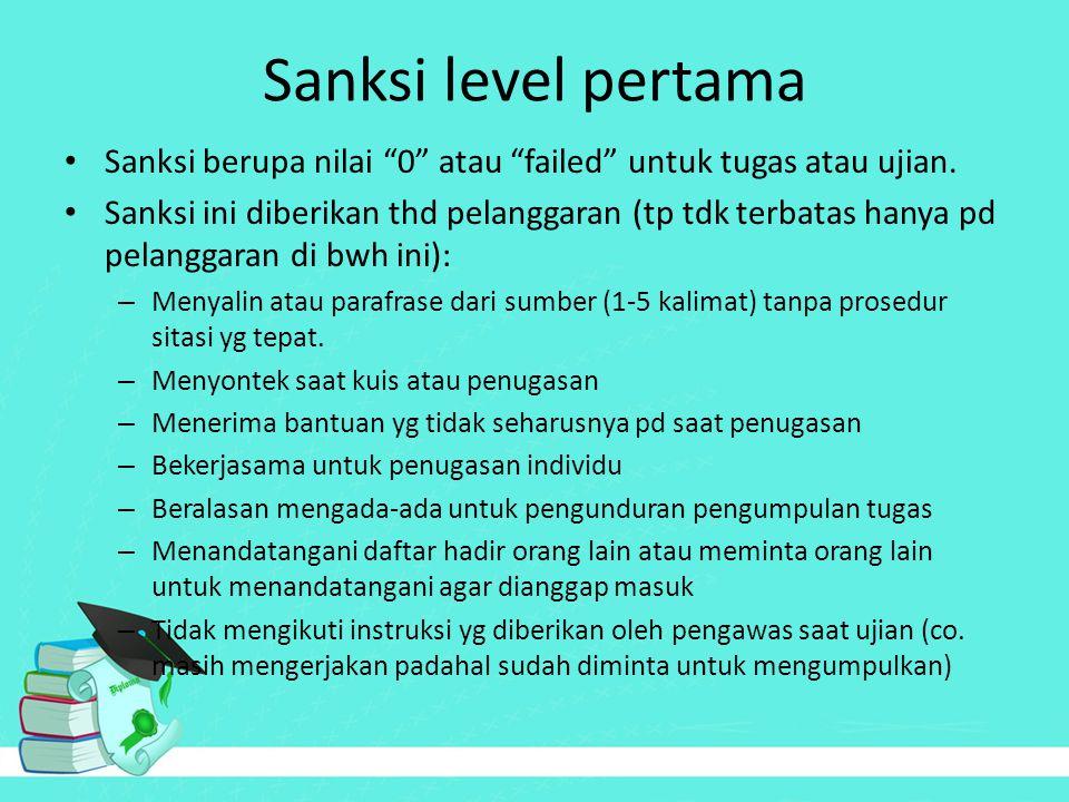 "Sanksi level pertama Sanksi berupa nilai ""0"" atau ""failed"" untuk tugas atau ujian. Sanksi ini diberikan thd pelanggaran (tp tdk terbatas hanya pd pela"