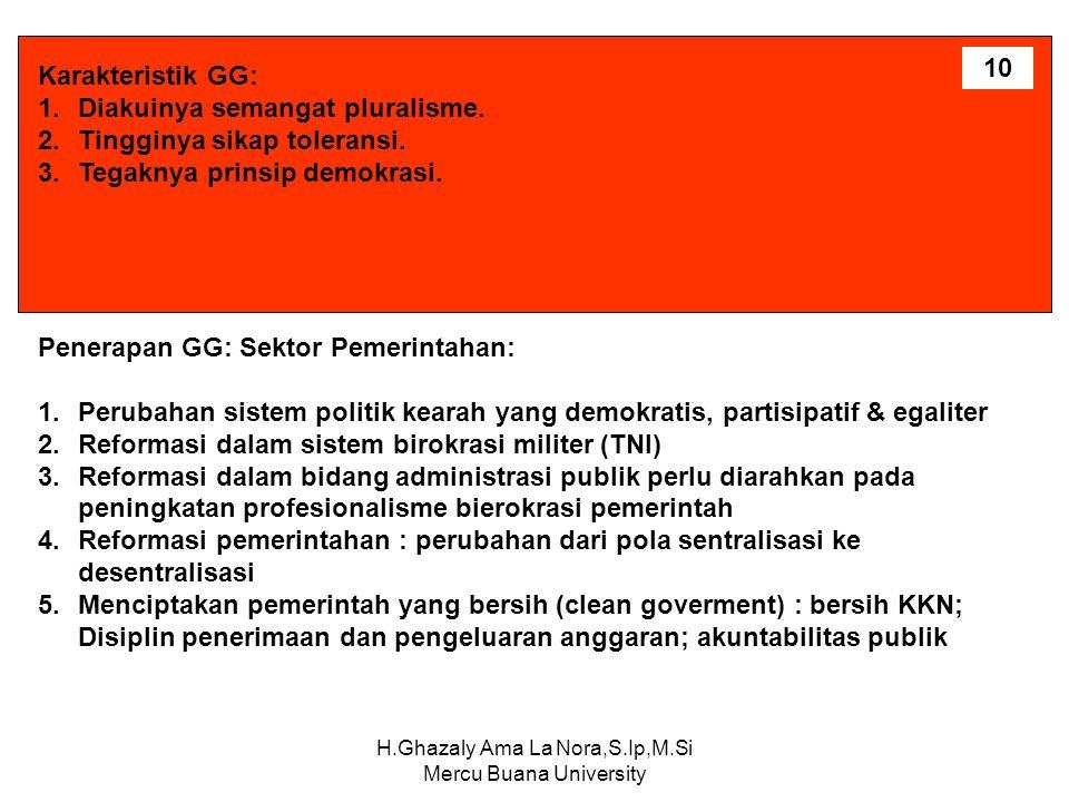 H.Ghazaly Ama La Nora,S.Ip,M.Si Mercu Buana University Karakteristik GG: 1.Diakuinya semangat pluralisme. 2.Tingginya sikap toleransi. 3.Tegaknya prin
