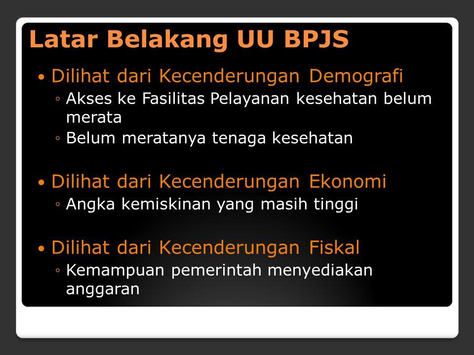 Latar Belakang UU BPJS Dilihat dari Kecenderungan Demografi ◦Akses ke Fasilitas Pelayanan kesehatan belum merata ◦Belum meratanya tenaga kesehatan Dil