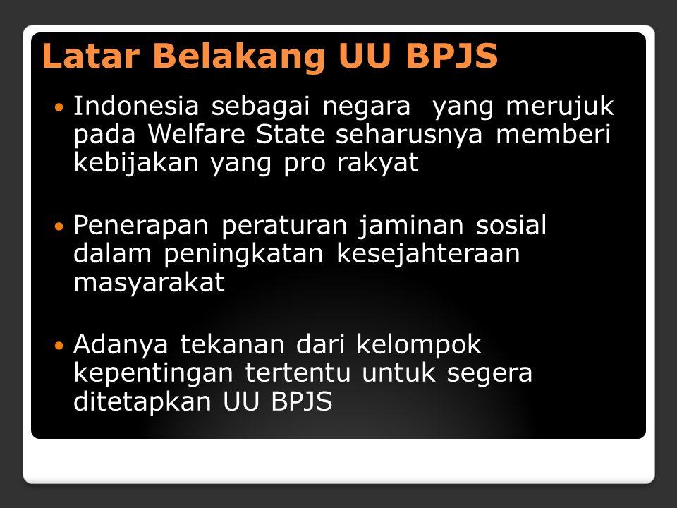 Latar Belakang UU BPJS Indonesia sebagai negara yang merujuk pada Welfare State seharusnya memberi kebijakan yang pro rakyat Penerapan peraturan jaminan sosial dalam peningkatan kesejahteraan masyarakat Adanya tekanan dari kelompok kepentingan tertentu untuk segera ditetapkan UU BPJS