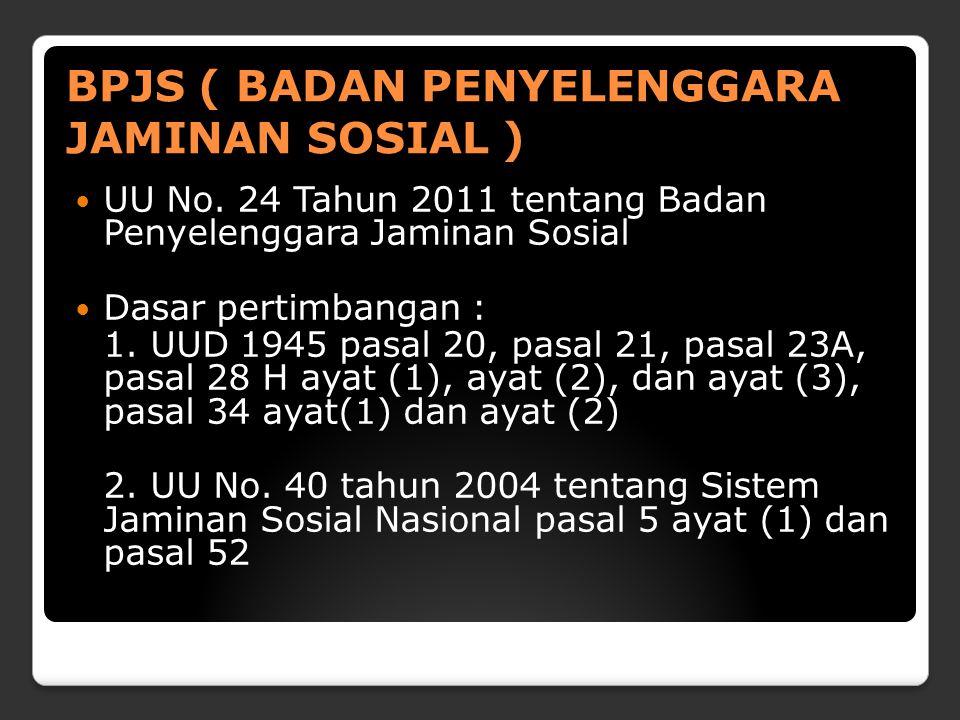 BPJS ( BADAN PENYELENGGARA JAMINAN SOSIAL ) Terdiri dari 18 BAB 71 pasal Menyelenggarakan sistem jaminan sosial nasional berdasarkan asas : a.