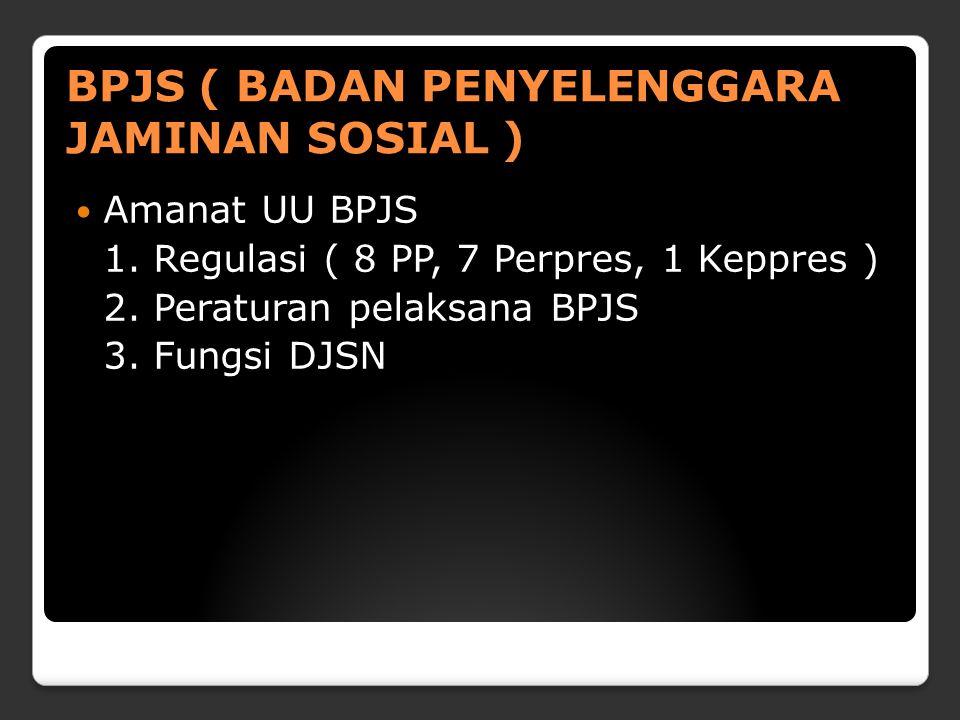 BPJS ( BADAN PENYELENGGARA JAMINAN SOSIAL ) Amanat UU BPJS 1.