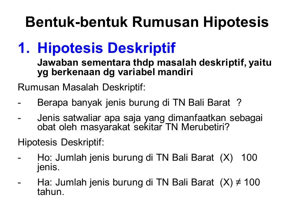 Bentuk-bentuk Rumusan Hipotesis 1.Hipotesis Deskriptif Jawaban sementara thdp masalah deskriptif, yaitu yg berkenaan dg variabel mandiri Rumusan Masalah Deskriptif: -Berapa banyak jenis burung di TN Bali Barat .