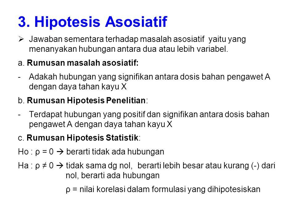 3. Hipotesis Asosiatif  Jawaban sementara terhadap masalah asosiatif yaitu yang menanyakan hubungan antara dua atau lebih variabel. a. Rumusan masala