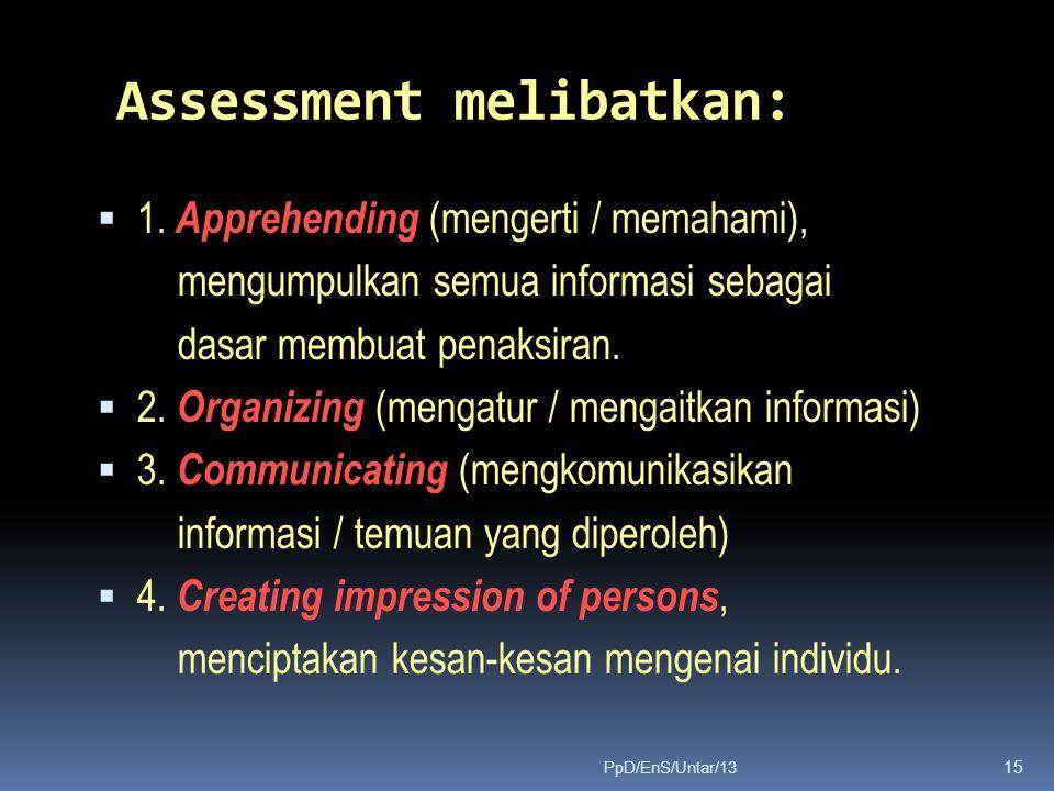 Assessment melibatkan:  1. Apprehending (mengerti / memahami), mengumpulkan semua informasi sebagai dasar membuat penaksiran.  2. Organizing (mengat