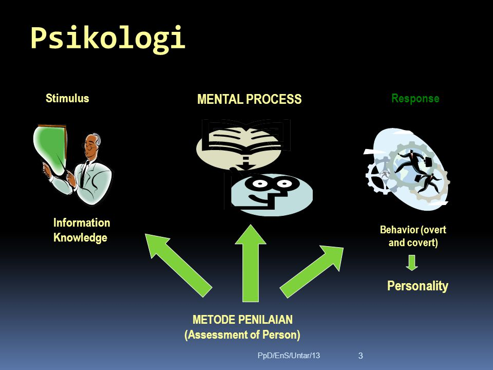 Psikologi Stimulus MENTAL PROCESS Response Information Knowledge METODE PENILAIAN (Assessment of Person) Personality Behavior (overt and covert) 3 PpD