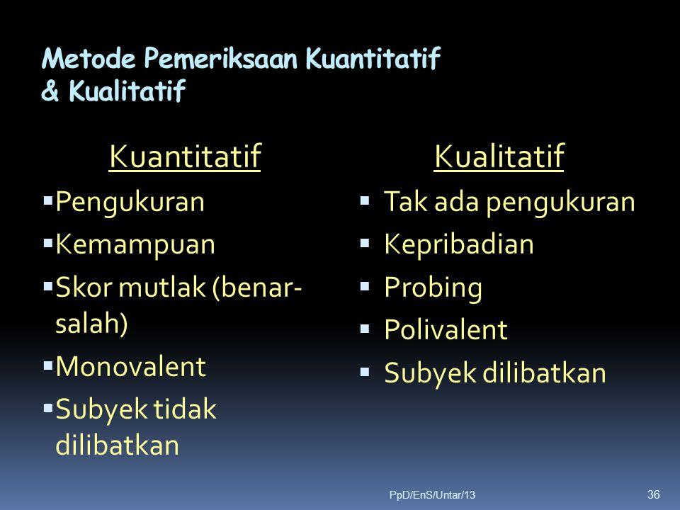Metode Pemeriksaan Kuantitatif & Kualitatif Kuantitatif  Pengukuran  Kemampuan  Skor mutlak (benar- salah)  Monovalent  Subyek tidak dilibatkan K