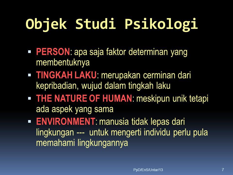 Objek Studi Psikologi  PERSON : apa saja faktor determinan yang membentuknya  TINGKAH LAKU : merupakan cerminan dari kepribadian, wujud dalam tingka