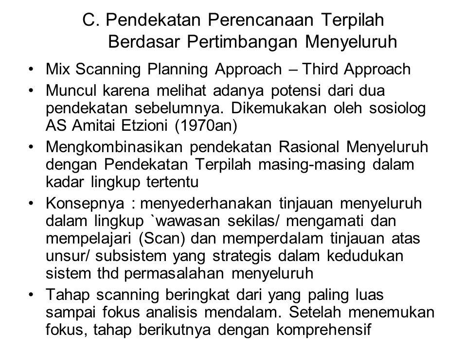 C. Pendekatan Perencanaan Terpilah Berdasar Pertimbangan Menyeluruh Mix Scanning Planning Approach – Third Approach Muncul karena melihat adanya poten
