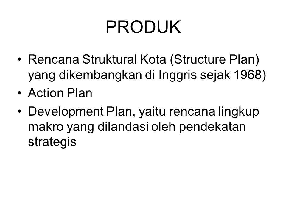 PRODUK Rencana Struktural Kota (Structure Plan) yang dikembangkan di Inggris sejak 1968) Action Plan Development Plan, yaitu rencana lingkup makro yan