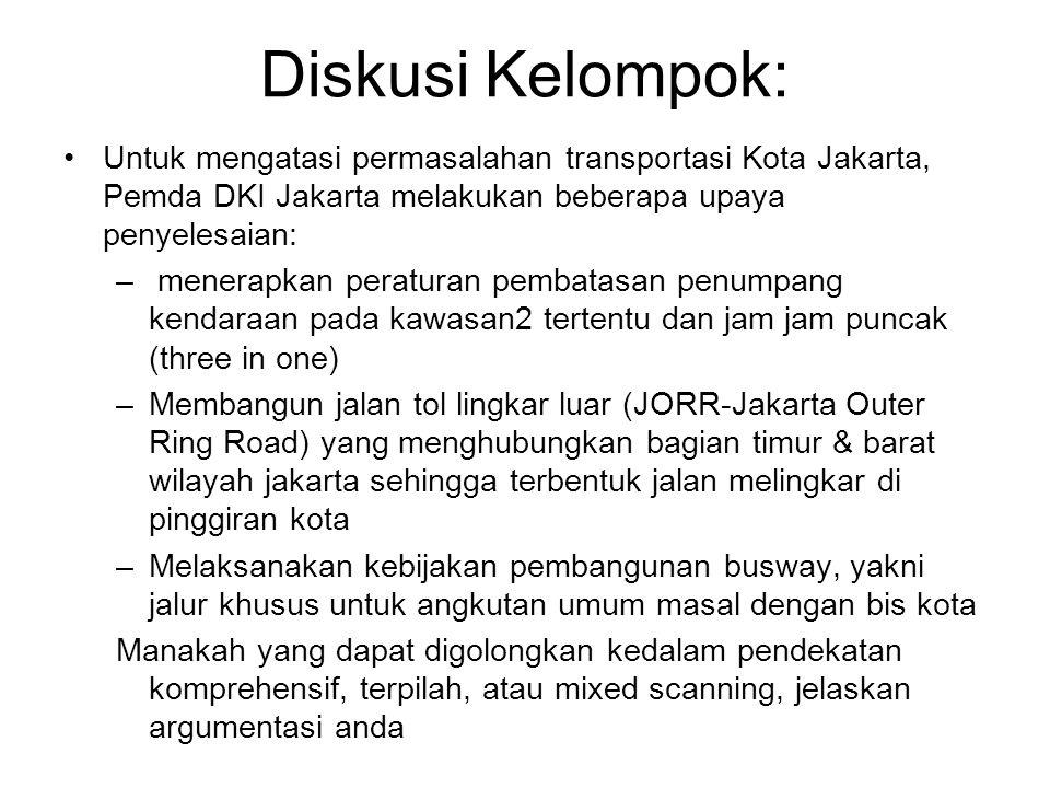 Diskusi Kelompok: Untuk mengatasi permasalahan transportasi Kota Jakarta, Pemda DKI Jakarta melakukan beberapa upaya penyelesaian: – menerapkan peratu