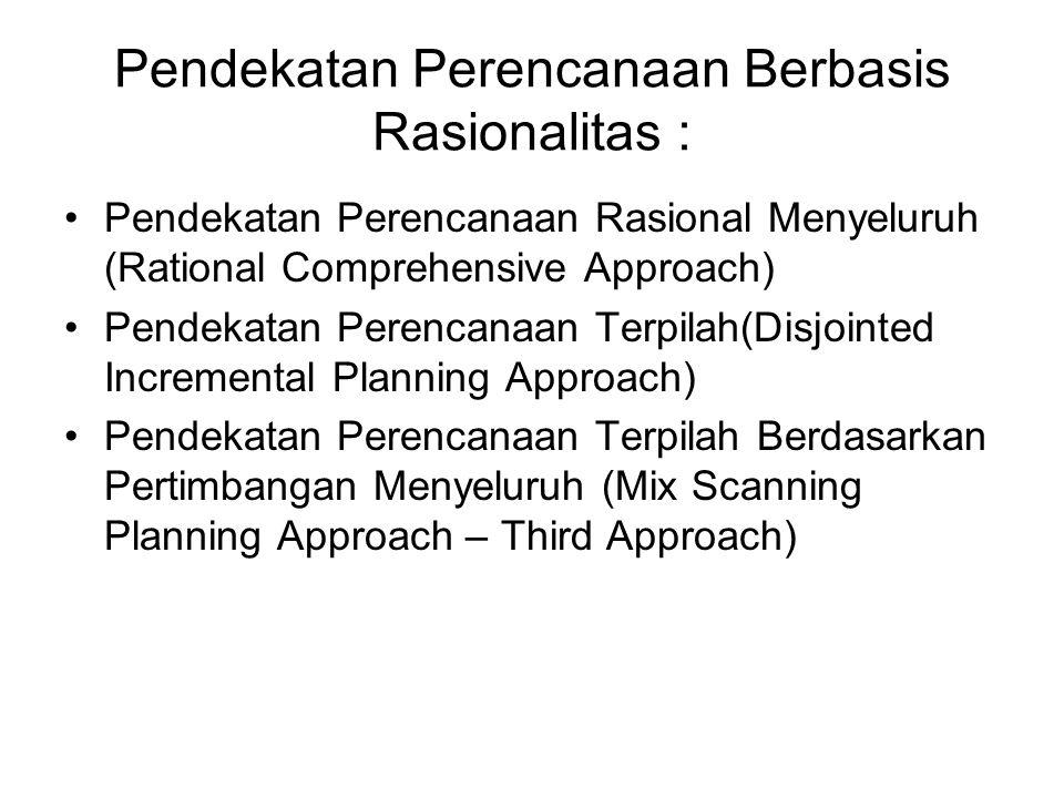 Pendekatan Perencanaan Berbasis Rasionalitas : Pendekatan Perencanaan Rasional Menyeluruh (Rational Comprehensive Approach) Pendekatan Perencanaan Ter