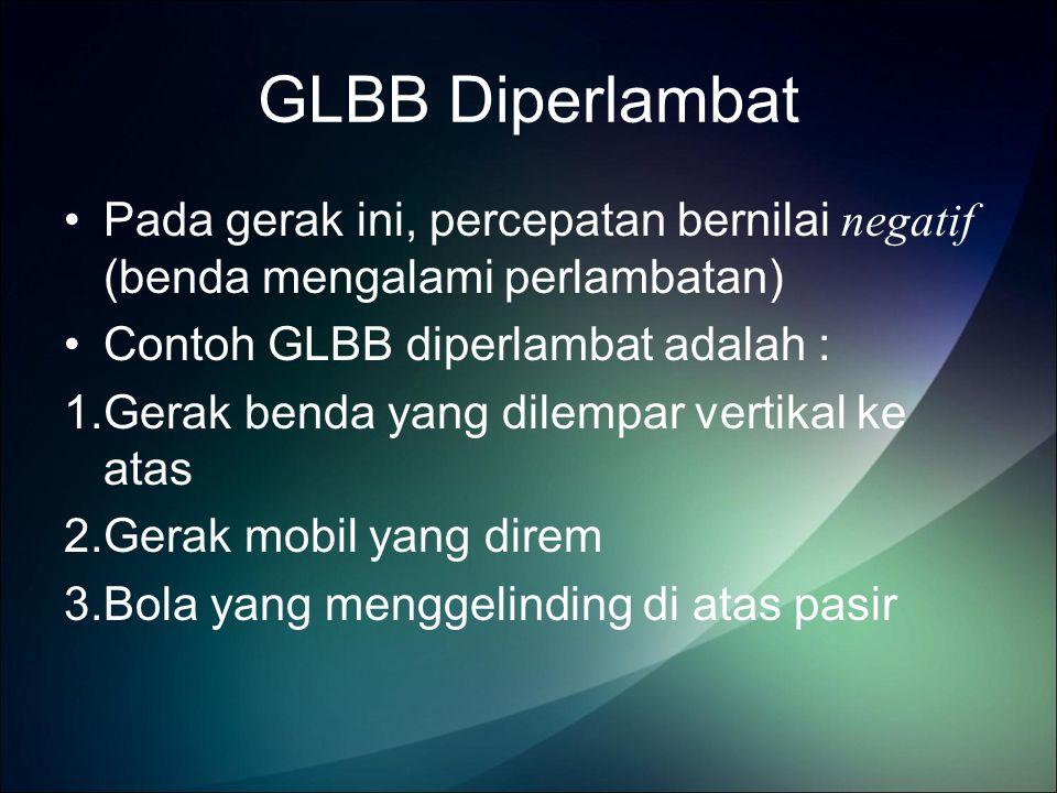 GLBB Diperlambat Pada gerak ini, percepatan bernilai negatif (benda mengalami perlambatan) Contoh GLBB diperlambat adalah : 1.Gerak benda yang dilempar vertikal ke atas 2.Gerak mobil yang direm 3.Bola yang menggelinding di atas pasir