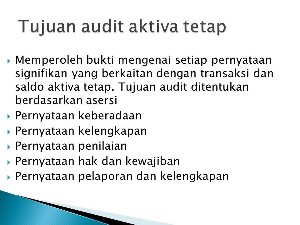  Memperoleh bukti mengenai setiap pernyataan signifikan yang berkaitan dengan transaksi dan saldo aktiva tetap. Tujuan audit ditentukan berdasarkan a
