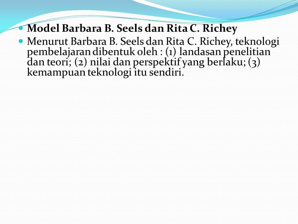 Model Barbara B. Seels dan Rita C. Richey Menurut Barbara B. Seels dan Rita C. Richey, teknologi pembelajaran dibentuk oleh : (1) landasan penelitian