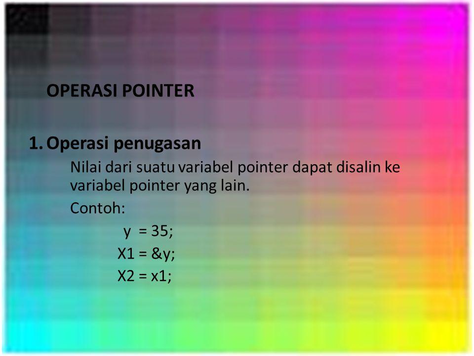 OPERASI POINTER 1.Operasi penugasan Nilai dari suatu variabel pointer dapat disalin ke variabel pointer yang lain. Contoh: y = 35; X1 = &y; X2 = x1;