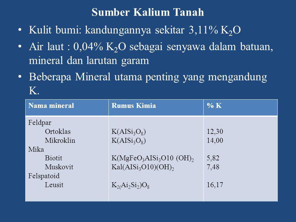 Sumber Kalium Tanah Kulit bumi: kandungannya sekitar 3,11% K 2 O Air laut : 0,04% K 2 O sebagai senyawa dalam batuan, mineral dan larutan garam Beberapa Mineral utama penting yang mengandung K.
