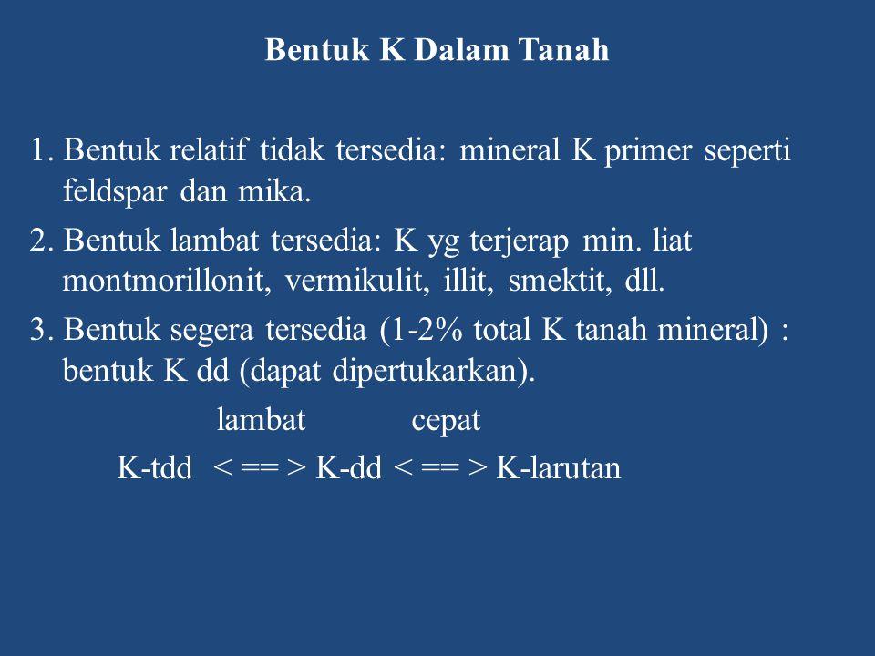 Bentuk K Dalam Tanah 1. Bentuk relatif tidak tersedia: mineral K primer seperti feldspar dan mika. 2. Bentuk lambat tersedia: K yg terjerap min. liat
