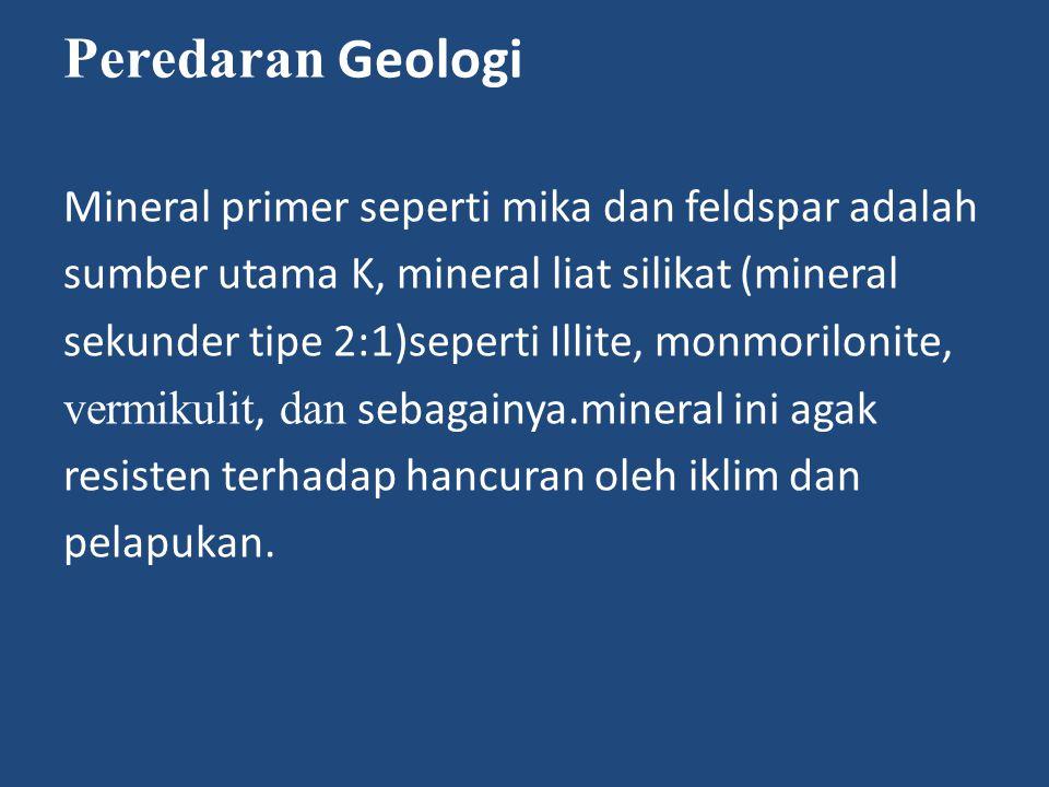 Peredaran Geologi Mineral primer seperti mika dan feldspar adalah sumber utama K, mineral liat silikat (mineral sekunder tipe 2:1)seperti Illite, monmorilonite, vermikulit, dan sebagainya.mineral ini agak resisten terhadap hancuran oleh iklim dan pelapukan.